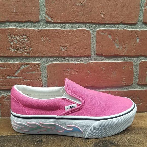 Vans Slipon Flame Pink Platform Shoes
